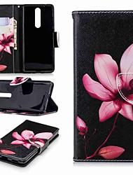 Недорогие -Кейс для Назначение Nokia Nokia 8 / Nokia 6 2018 / Nokia 2.1 Кошелек / Бумажник для карт / со стендом Чехол Цветы Твердый Кожа PU