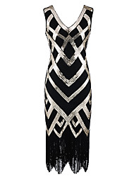 cheap -The Great Gatsby Charleston Vintage 1920s Roaring Twenties Flapper Dress Masquerade Cocktail Dress Women's Sequins Rivet Costume Black Vintage Cosplay Party Prom Sleeveless Knee Length