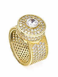 cheap -Men's Statement Ring Ring AAA Cubic Zirconia Moissanite 1pc Gold Silver Copper Geometric Trendy Hyperbole Hip-Hop Wedding Masquerade Jewelry Stylish Solitaire Round Cut Creative Cool