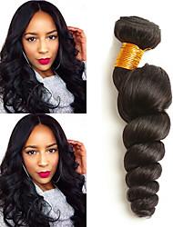 cheap -4 Bundles Indian Hair Loose Wave Human Hair Extension Human Hair Extensions 8-28 inch Black Natural Color Human Hair Weaves Women Woven Natural Human Hair Extensions / 8A