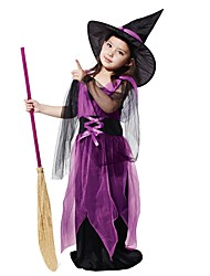 cheap -Witch Costume Kid's Girls' Halloween Halloween Carnival Children's Day Festival / Holiday Polyster Purple Female Carnival Costumes Solid Colored Halloween