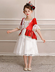 cheap -Princess Sweet Lolita Rococo Dress Party Costume Masquerade Costume Kid's Costume Red and White Vintage Cosplay Half Sleeve Tea Length