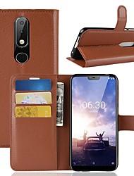 Недорогие -Кейс для Назначение Nokia Nokia 8 / 8 Sirocco / Nokia 7 Кошелек / Бумажник для карт / Флип Чехол Однотонный Твердый Кожа PU / Nokia 6