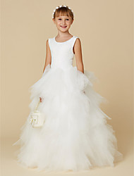 cheap -Ball Gown Floor Length Flower Girl Dress - Lace / Tulle Sleeveless Scoop Neck with Cascading Ruffles / First Communion