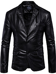 cheap -Men's Shirt Collar Faux Leather Jacket Regular Solid Colored Professional Winter Long Sleeve Black / Brown M / L / XL