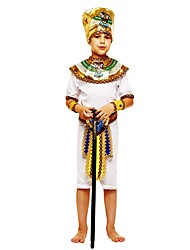 cheap -Pharaoh Costume Boys' Kid's Halloween Halloween Carnival Children's Day Festival / Holiday Polyster Outfits White Solid Colored Halloween