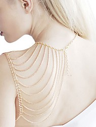cheap -Layered Shoulder Body Harness Fine Chain Body Chain Shoulder Fashion Women's Body Jewelry For Holiday Club Stylish Alloy Gold Silver 1pc