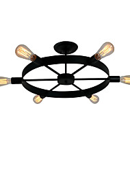 cheap -6-Light 6-Head Vintage Black Metal Wheel Semi Flush Mount Ceiling Light Living Room Dining Room Lighting Painted Finish
