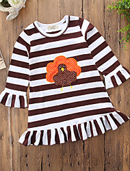 cheap -Baby Girls' Active / Basic Daily / Holiday Striped Tassel / Embroidered Long Sleeve Regular 50-60 cm Dress Brown / Toddler