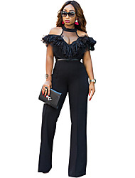 cheap -Women's Going out Sophisticated Turtleneck Black Wide Leg Jumpsuit Onesie, Solid Colored Ruffle / Mesh S M L High Waist Short Sleeve Spring Summer / Sexy