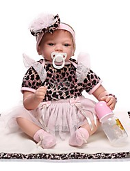 cheap -NPKCOLLECTION NPK DOLL Reborn Doll Girl Doll Baby Girl 24 inch Newborn lifelike Child Safe Parent-Child Interaction Hand Rooted Mohair Hand Applied Eyelashes Kid's Girls' Toy Gift / Natural Skin Tone