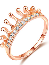 cheap -Women's Ring Knuckle Ring Princess Crown Ring 1pc Rose Gold Brass Rose Gold Plated Imitation Diamond Ladies Elegant Trendy Date Going out Jewelry Stylish Crown Cute