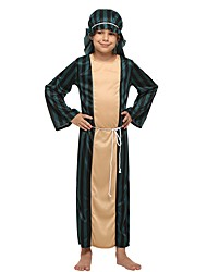 cheap -Cosplay Costume Boys' Kid's Halloween Halloween Carnival Children's Day Festival / Holiday Polyster Outfits Dark Green Solid Colored Halloween