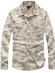 cheap -Men's Camo Hiking Shirt / Button Down Shirts Long Sleeve Outdoor Breathable Quick Dry Wear Resistance Multi Pocket Roll up Sleeves Shirt Top Autumn / Fall Spring Cotton Nylon Camping / Hiking Hunting