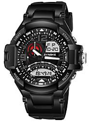 Недорогие -SYNOKE Муж. Спортивные часы электронные часы Цифровой Стеганная ПУ кожа Черный 50 m Защита от влаги Календарь Секундомер Аналого-цифровые Мода - Красный Зеленый Синий / Хронометр / Фосфоресцирующий
