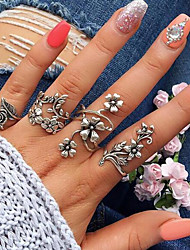 cheap -Open Cuff Ring Vintage Style Silver Alloy Leaf Flower Ladies Unusual Unique Design 4pcs Adjustable / Women's / Ring Set