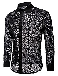 cheap -Men's Solid Colored Shirt Lace Cut Out Mesh Long Sleeve Party Tops Basic Sexy White Black / Club