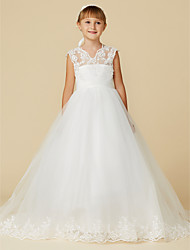 cheap -Princess Court Train Wedding / First Communion Flower Girl Dresses - Lace / Tulle Sleeveless V Neck with Sash / Ribbon / Appliques