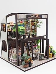 abordables -Maison de Poupées A Faire Soi-Même Fait à la main Interaction parent-enfant Meuble Café En bois Adolescent Jouet Cadeau