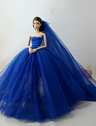 cheap -Doll Dress Dresses For Barbiedoll Aquamarine Tulle Lace Cotton Blend Dress For Girl's Doll Toy