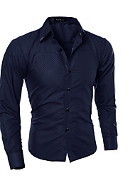 cheap -Men's Work Business Shirt - Solid Colored White / Long Sleeve