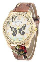 Недорогие -Жен. Наручные часы Diamond Watch Кварцевый Стеганная ПУ кожа Черный / Белый / Синий Повседневные часы Аналоговый Дамы Бабочка Мода - Красный Синий Розовый