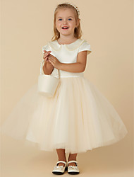 cheap -Ball Gown Tea Length Flower Girl Dress - Satin / Tulle Short Sleeve Jewel Neck with Beading / Pearls