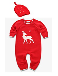 cheap -Baby Boys' Basic Daily Print Animal Pattern Long Sleeve Cotton Romper Red