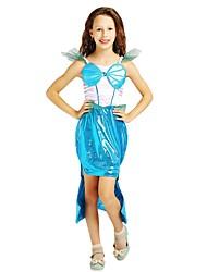 cheap -Princess Costume Flower Girl Dress Kids Girls' A-Line Slip Halloween Halloween Carnival Children's Day Festival / Holiday Polyster Cyan Carnival Costumes Solid Colored Halloween