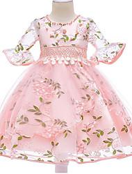 cheap -Kids Girls' Basic Daily Floral Half Sleeve Dress Blushing Pink