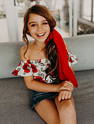 cheap -Baby Girls' Active / Street chic Daily / Holiday Floral / Print Printing Short Sleeves Bodysuit Red / Toddler