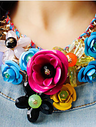 cheap -Women's Multicolor Statement Necklace Bib necklace Braided Bib Flower Rainbow Ladies Luxury Chunky Color Synthetic Gemstones Resin Plastic Black Rainbow White Fuchsia Green Necklace Jewelry 1pc For