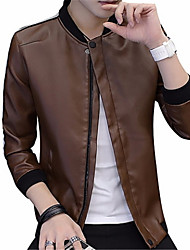 cheap -Men's Daily Basic Fall & Winter Regular Jacket, Solid Colored Stand Long Sleeve Polyester Blue / Brown / Black