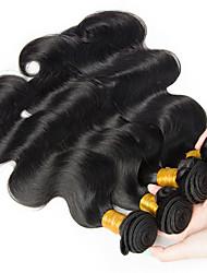 cheap -4 Bundles Peruvian Hair Body Wave Human Hair Headpiece Natural Color Hair Weaves / Hair Bulk Extension 8-28 inch Black Natural Color Human Hair Weaves Classic Best Quality Hot Sale Human Hair / 8A