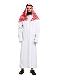 cheap -Prince Aladdin Arabian Adults' Highschool Men's Halloween Costume Arabian Dress For Polyster Solid Colored Halloween Halloween Carnival Masquerade Leotard / Onesie Headpiece Headwear