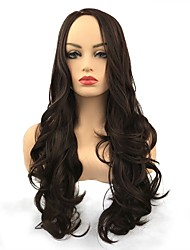 cheap -Synthetic Wig Curly Middle Part Wig Long Dark Brown / Dark Auburn Synthetic Hair Women's Synthetic Brown StrongBeauty