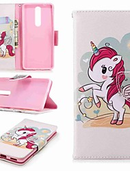 cheap -Case For Nokia Nokia 5 / Nokia 3 / Nokia 2.1 Wallet / Card Holder / with Stand Full Body Cases Unicorn Hard PU Leather