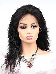 cheap -Remy Human Hair Lace Front Wig Asymmetrical style Brazilian Hair Wavy Black Wig 130% Density with Baby Hair Women Easy dressing Sexy Lady Best Quality Women's Long Human Hair Lace Wig PERFE