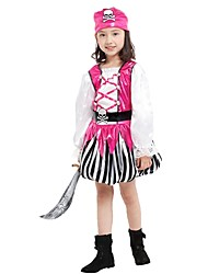 cheap -Pirate Costume Flower Girl Dress Teen Girls' A-Line Slip Halloween Halloween Carnival Children's Day Festival / Holiday Polyster Pink Carnival Costumes Striped Solid Colored Halloween / Headwear