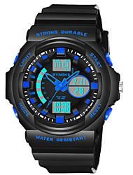 Недорогие -SYNOKE Муж. электронные часы Японский Цифровой Стеганная ПУ кожа Черный 50 m Защита от влаги Календарь Секундомер Аналого-цифровые Мода - Оранжевый Зеленый Синий / Фосфоресцирующий