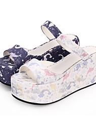 cheap -Women's Lolita Shoes Princess Lolita Wedge Heel Shoes Pattern 8 cm White Purple PU(Polyurethane) Halloween Costumes