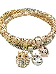 cheap -3pcs Women's Pendant Bracelet Thick Chain Owl Lucky Ladies Basic Fashion Alloy Bracelet Jewelry Gold For Daily School