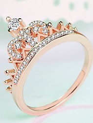 cheap -Women's Ring Midi Ring Princess Crown Ring 1pc Rose Gold Silver Brass Platinum Plated Rose Gold Plated Ladies Elegant Trendy Wedding Masquerade Jewelry Stylish Crown Cute / Imitation Diamond