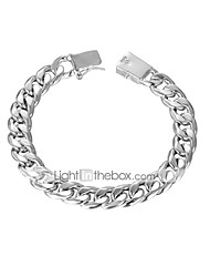 cheap -Men's Chain Bracelet Thick Chain Single Strand Snake Simple Basic Copper Bracelet Jewelry Silver For Daily Work / Silver Plated