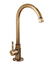 cheap -Kitchen faucet - Single Handle One Hole Antique Brass Standard Spout / Tall / ­High Arc Vessel