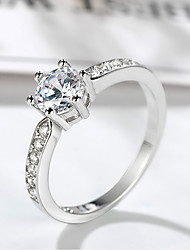 cheap -Women's Ring Belle Ring 1pc Silver Brass Platinum Plated Imitation Diamond Six Prongs Ladies Unique Design Elegant Wedding Formal Jewelry Stylish Solitaire Halo Precious Cute