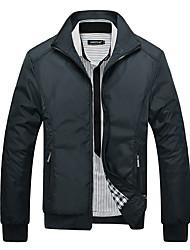 abordables -Homme Sports Hiver Normal Veste, Couleur Pleine Mao Manches Longues Polyester Noir / Bleu / Vert