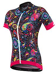 abordables -Malciklo Femme Manches Courtes Maillot Velo Cyclisme Noir Orange Jaune Floral Botanique Grandes Tailles Cyclisme Maillot Hauts / Top VTT Vélo tout terrain Vélo Route Respirable Séchage rapide Design