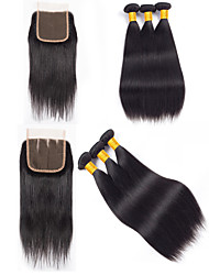 cheap -3 Bundles with Closure Hair Weaves Peruvian Hair Straight Human Hair Extensions Remy Human Hair 100% Remy Hair Weave Bundles 345 g Natural Color Hair Weaves / Hair Bulk Human Hair Extensions 8-20 inch