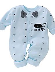 cheap -Baby Boys' Basic Daily Print Animal Pattern Long Sleeve Cotton Romper Blue